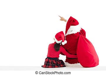 weinig; niet zo(veel), achtergrond, wijzende, claus, kerstman, meisje, witte