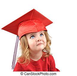 weinig; niet zo(veel), afgestudeerde school, baby, op wit