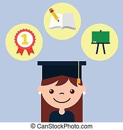 weinig; niet zo(veel), afstuderen, boek, chalkboard, meisje, medaille
