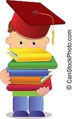 weinig; niet zo(veel), afstuderen