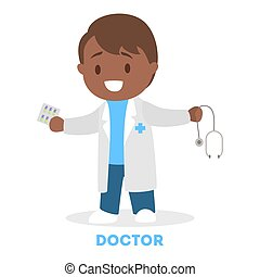 weinig; niet zo(veel), arts., kind, witte , spelend, geitje