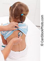 weinig; niet zo(veel), arts, wezen, onderzochte, stethoscope, meisje