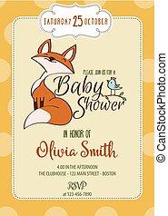 weinig; niet zo(veel), baby, kaart, schattig, douche, vos