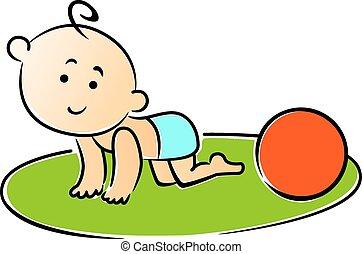 weinig; niet zo(veel), baby kruipen, op, handen en knieën