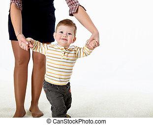 weinig; niet zo(veel), baby, leren, hoe, om te lopen