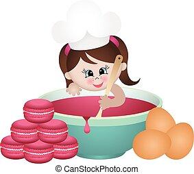 weinig; niet zo(veel), bakken, meisje, macaroons