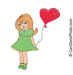 weinig; niet zo(veel), balloon, meisje