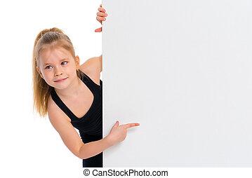 weinig; niet zo(veel), banner., punten, vinger, meisje, witte