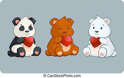 weinig; niet zo(veel), beren, -, illustratie, valentijn, vector, vasthouden, hartjes, dag