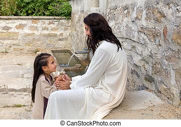 weinig; niet zo(veel), biddend, meisje, jesus