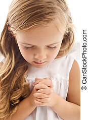 weinig; niet zo(veel), biddend, meisje
