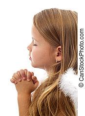 weinig; niet zo(veel), biddend, schattige, meisje