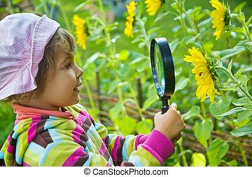 weinig; niet zo(veel), bloem, glas, blik, mooi meisje, vergroten