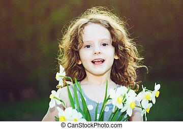 weinig; niet zo(veel), bloem, haar, moeders, hand., dag, meisje, concept.