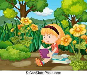 weinig; niet zo(veel), bloemtuin, boekjes , girl lezen