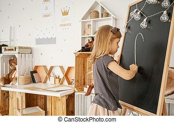 Oud kamer muur vleugels danser meisje tekening oud muur
