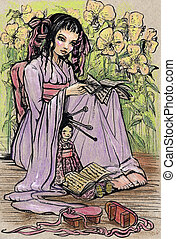 weinig; niet zo(veel), boek, aziatisch meisje, lezende