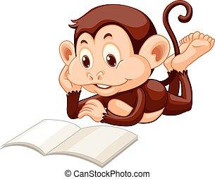 weinig; niet zo(veel), boek, lezende , aap