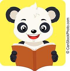 weinig; niet zo(veel), boek, lezende , beer, panda