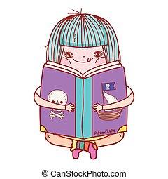 weinig; niet zo(veel), boek, lezende , meisje, vrolijke