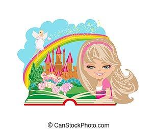 weinig; niet zo(veel), boek, magisch, lezende , meisje