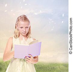 weinig; niet zo(veel), boek, meisje, blonde , lezende