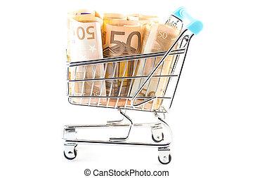weinig; niet zo(veel), boodschappenwagentje, volle, geld, -, bestedend geld, concept