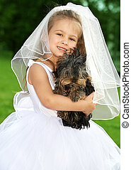 weinig; niet zo(veel), bruidsmeisje, met, schattig, dog