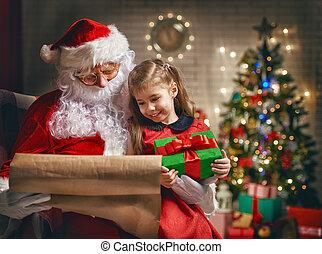 weinig; niet zo(veel), claus, meisje, kerstman