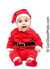weinig; niet zo(veel), clothes., baby meisje, kerstmis, rood