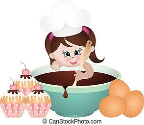 weinig; niet zo(veel), cupcakes, meisje, bakken