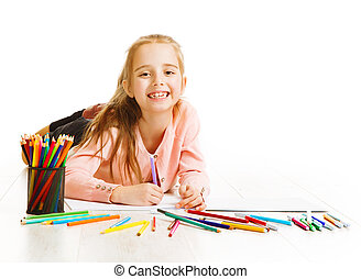 weinig; niet zo(veel), de kleur van de kunstenaar, verbeelding, tekening, potloden, kind, het glimlachen van het meisje, geitje