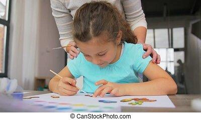 weinig; niet zo(veel), dochter, schilderij, blanks, houten, ...