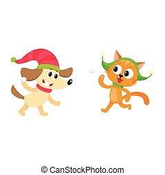 weinig; niet zo(veel), dog, kat, sneeuwballen, karakters, spelend