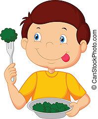 weinig; niet zo(veel), eet, schattig, jongen, spotprent, vegeta