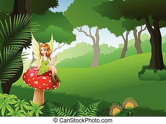 weinig; niet zo(veel), elfje, zittende , op, paddenstoel, met, tropisch bos, achtergrond