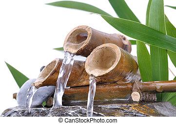 weinig; niet zo(veel), fontijn, bamboe