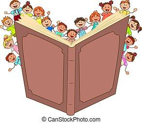 weinig; niet zo(veel), geitjes, lezen, groot boek, vrolijke