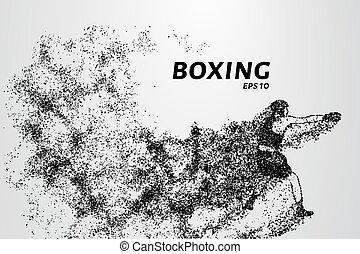 weinig; niet zo(veel), gemaakt, illustration., pose, particles., bokser, vector, attack., circles.