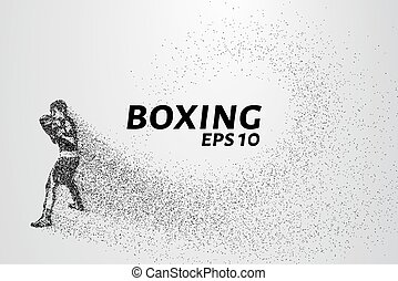 weinig; niet zo(veel), gemaakt, pose, illustratie, particles., bokser, vector, attack., circles.