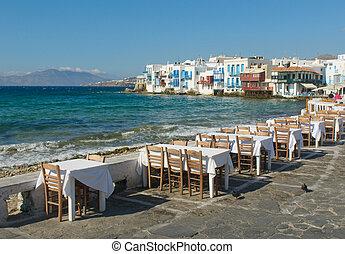 weinig; niet zo(veel), griekenland, venetie, eiland, mykonos