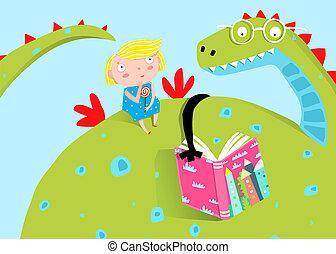 weinig; niet zo(veel), groot, draak, boek, girl lezen