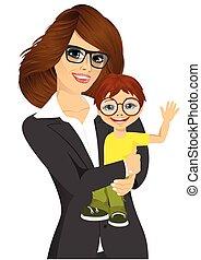 weinig; niet zo(veel), haar, businesswoman, jonge, baby, vriendelijk