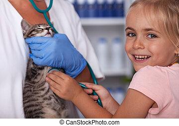 weinig; niet zo(veel), haar, controleren, veeartsenijkundig, stethoscope, katje, meisje