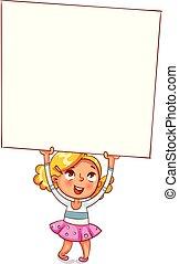 weinig; niet zo(veel), haar, poster, op, verheven, groot, reclame, meisje, hoofd
