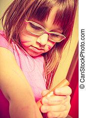 weinig; niet zo(veel), haar, tekening, meisje, toddler, arm