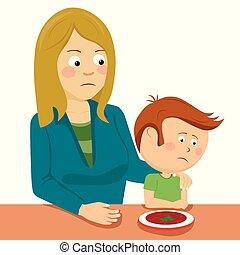 weinig; niet zo(veel), haar, zittende , het troosten, zoon, moeder, tafel
