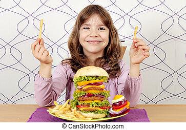 weinig; niet zo(veel), hamburger, groot, bakken, franse , meisje