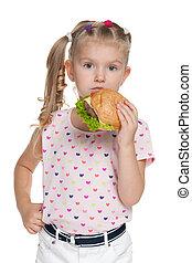 weinig; niet zo(veel), hamburger, meisje