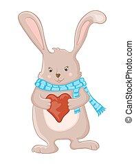 weinig; niet zo(veel), hart, liefde, schattig, konijntje